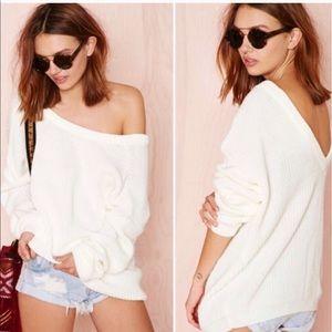 Nasty Gal Oversized Cream Sweater